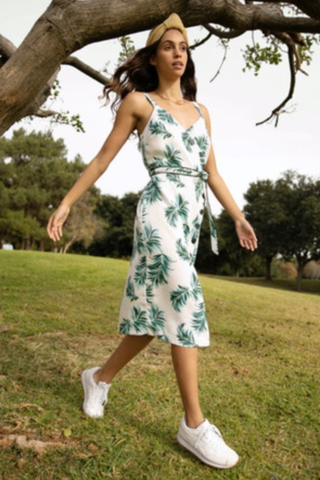 Adelyn Rae Fern Button Front Midi Dress - Main Image