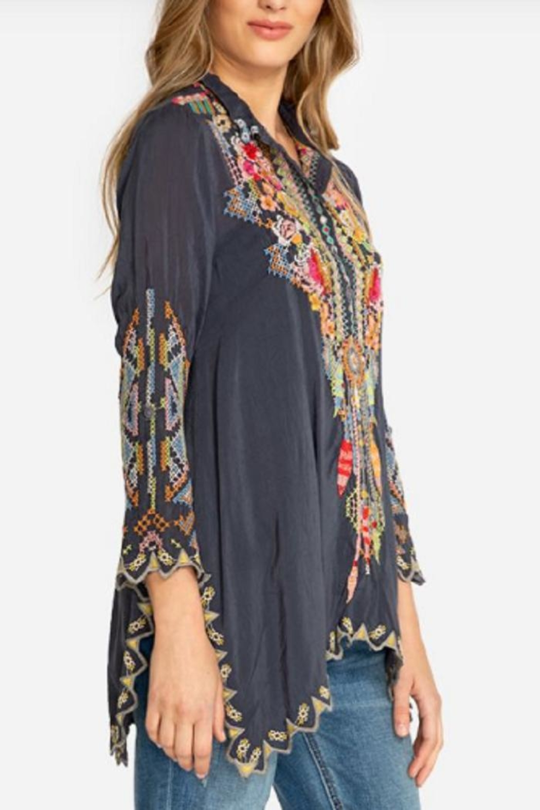 Johnny Was Festival Georgette Tunic - Back Cropped Image