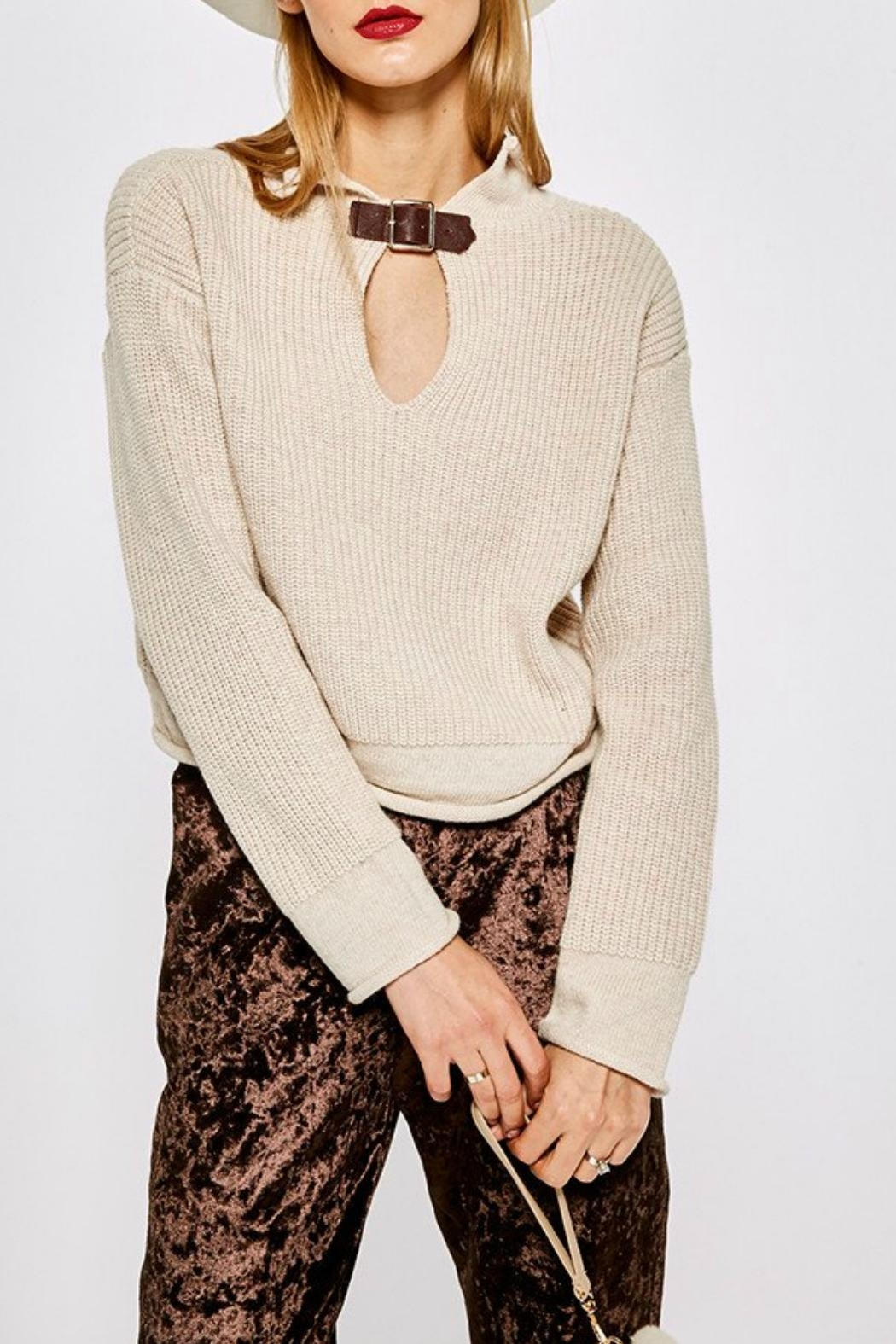 Few Moda Buckle Collar Sweater - Front Cropped Image