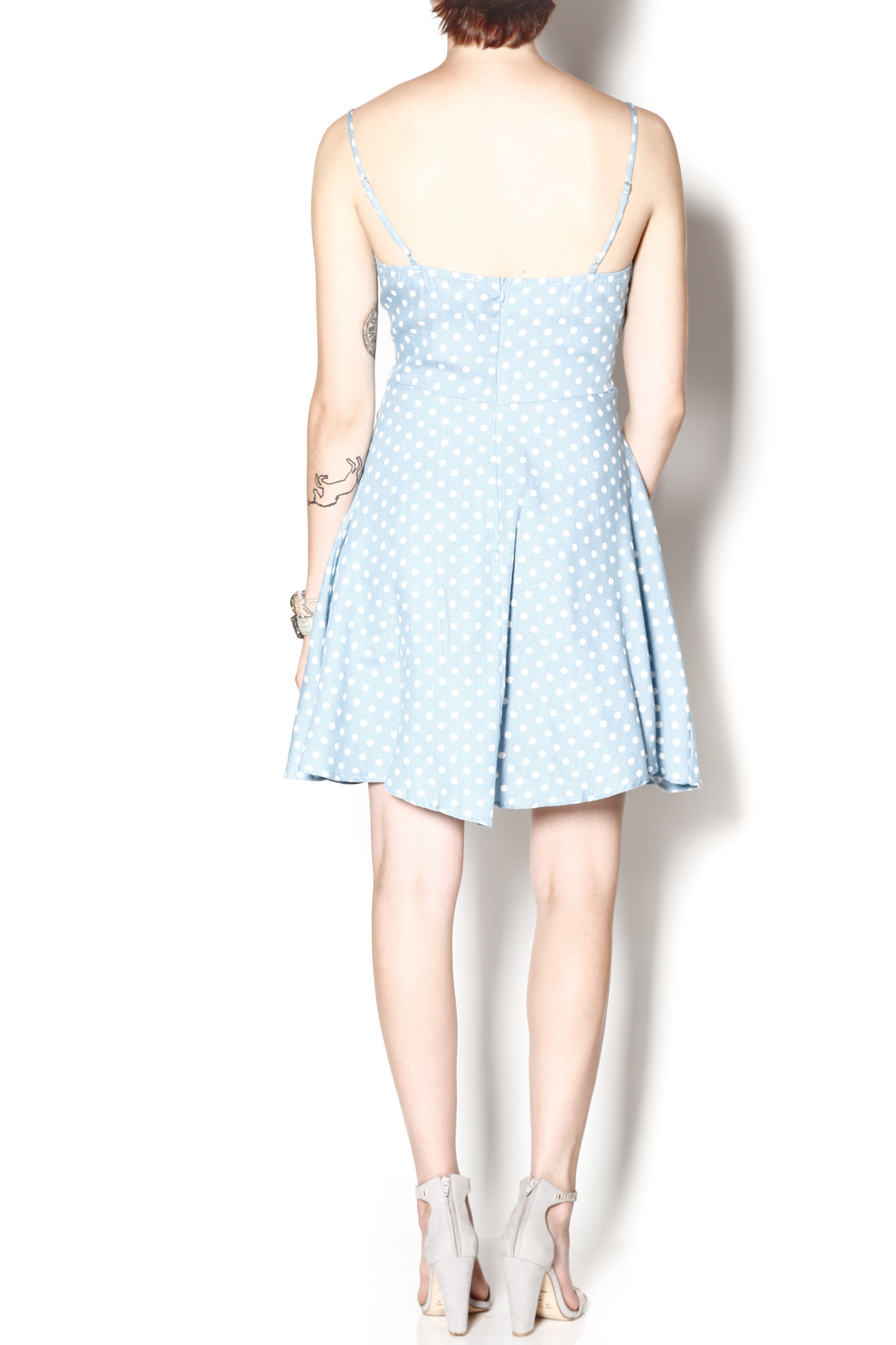 Everly Dotty Chambray Dress - Side Cropped Image