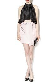 C/MEO COLLECTIVE Soft Pink Moto Skirt - Front full body