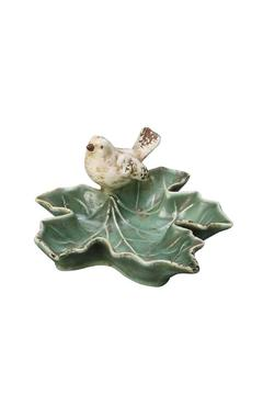 Fiddleheads Home & Garden Leaf Dish With Bird - Product List Image