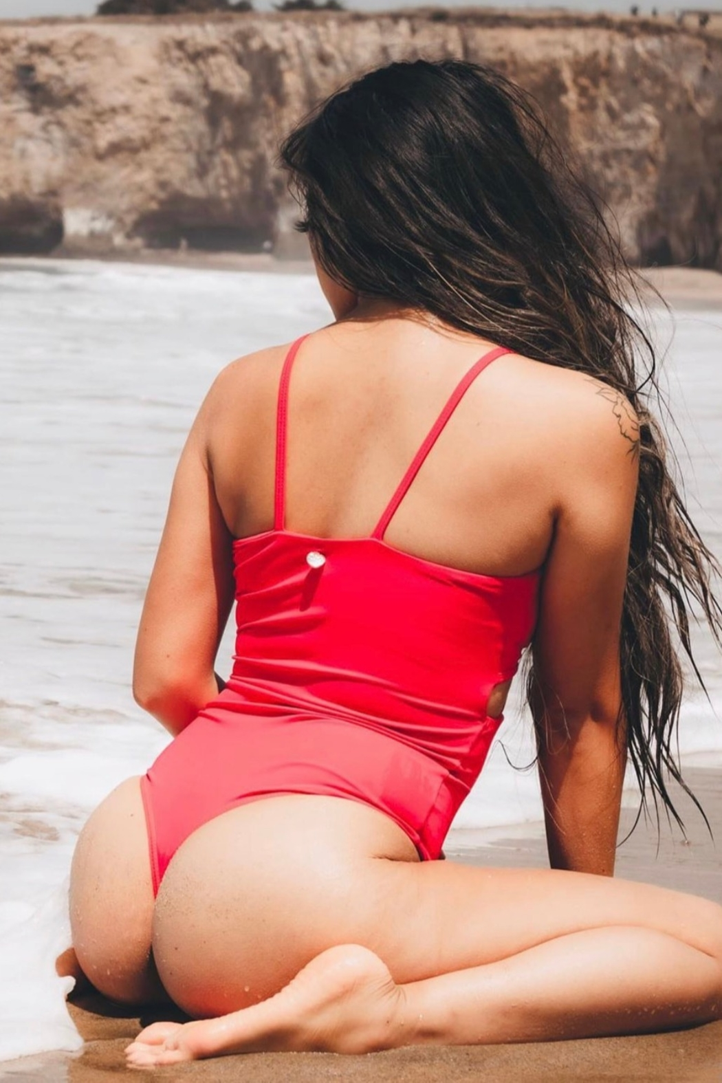 On the Lo Swimwear Fierce One Piece in Red - Front Full Image