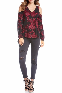 Fifteen-Twenty Embroidered Cold Shoulder Top - Product List Image