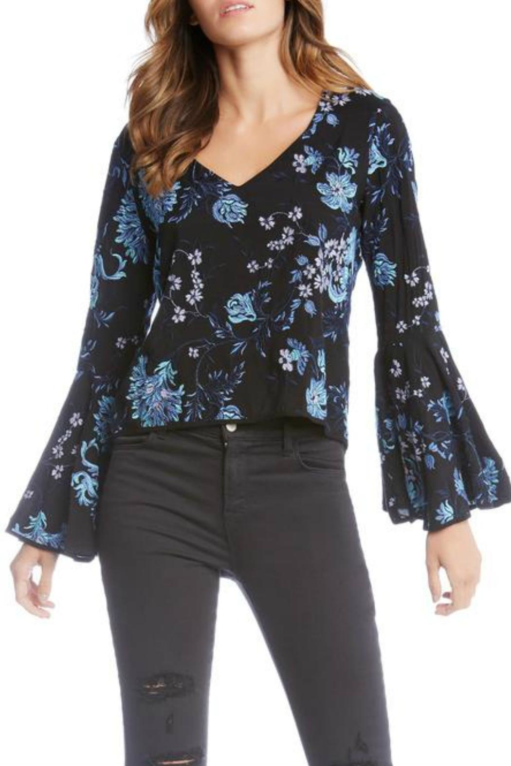 Fifteen Twenty Blue Embroidered Top - Main Image