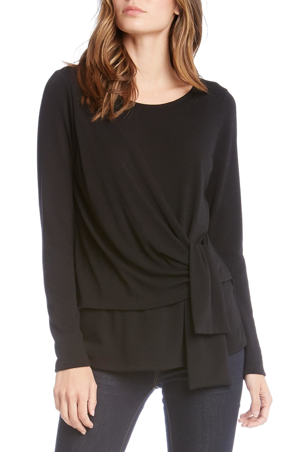 blk front drape black top crop drapes in asymmetric