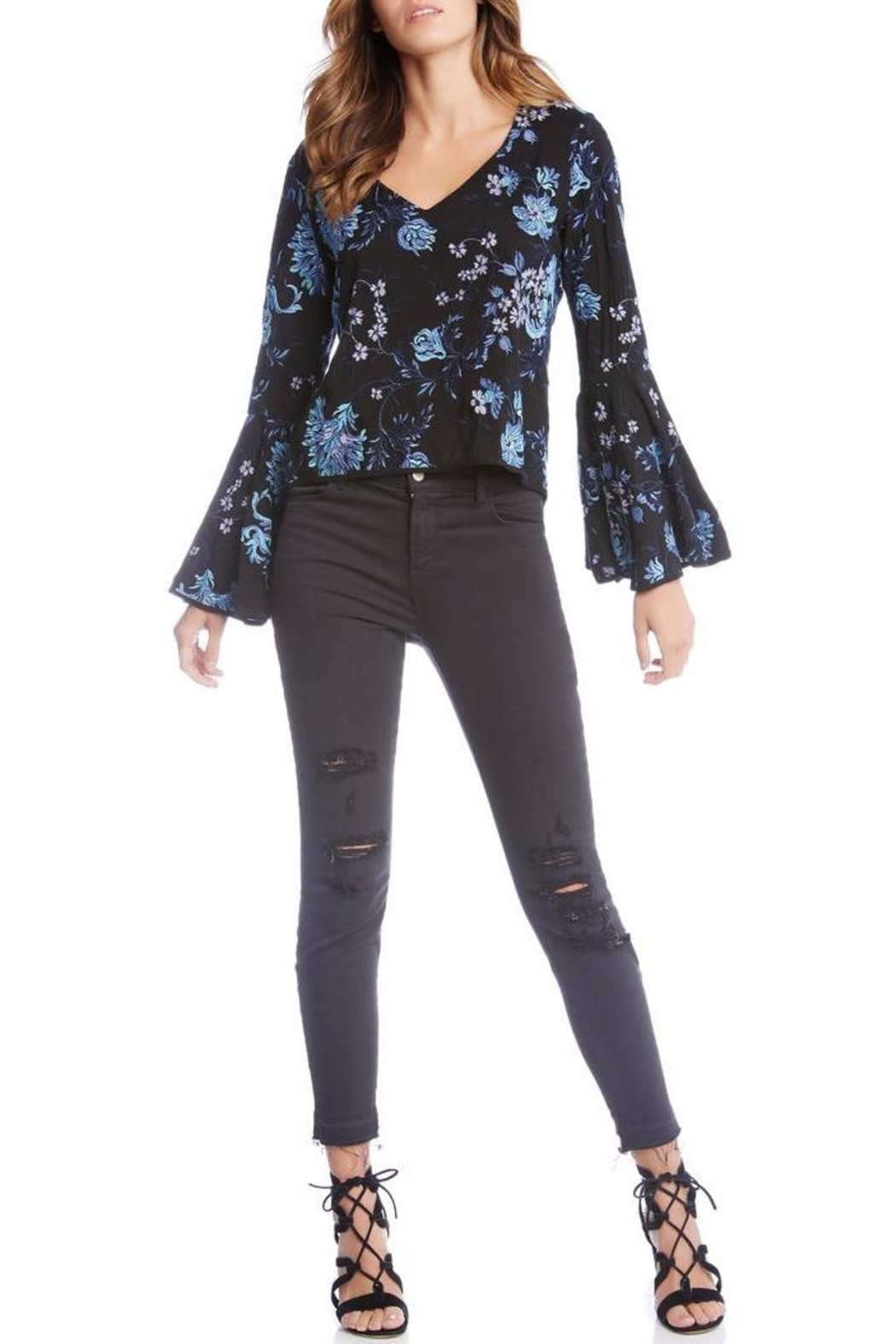 Fifteen Twenty Embroidered Bell Sleeve Top - Front Full Image