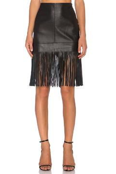 Shoptiques Product: Leather Fringed Skirt