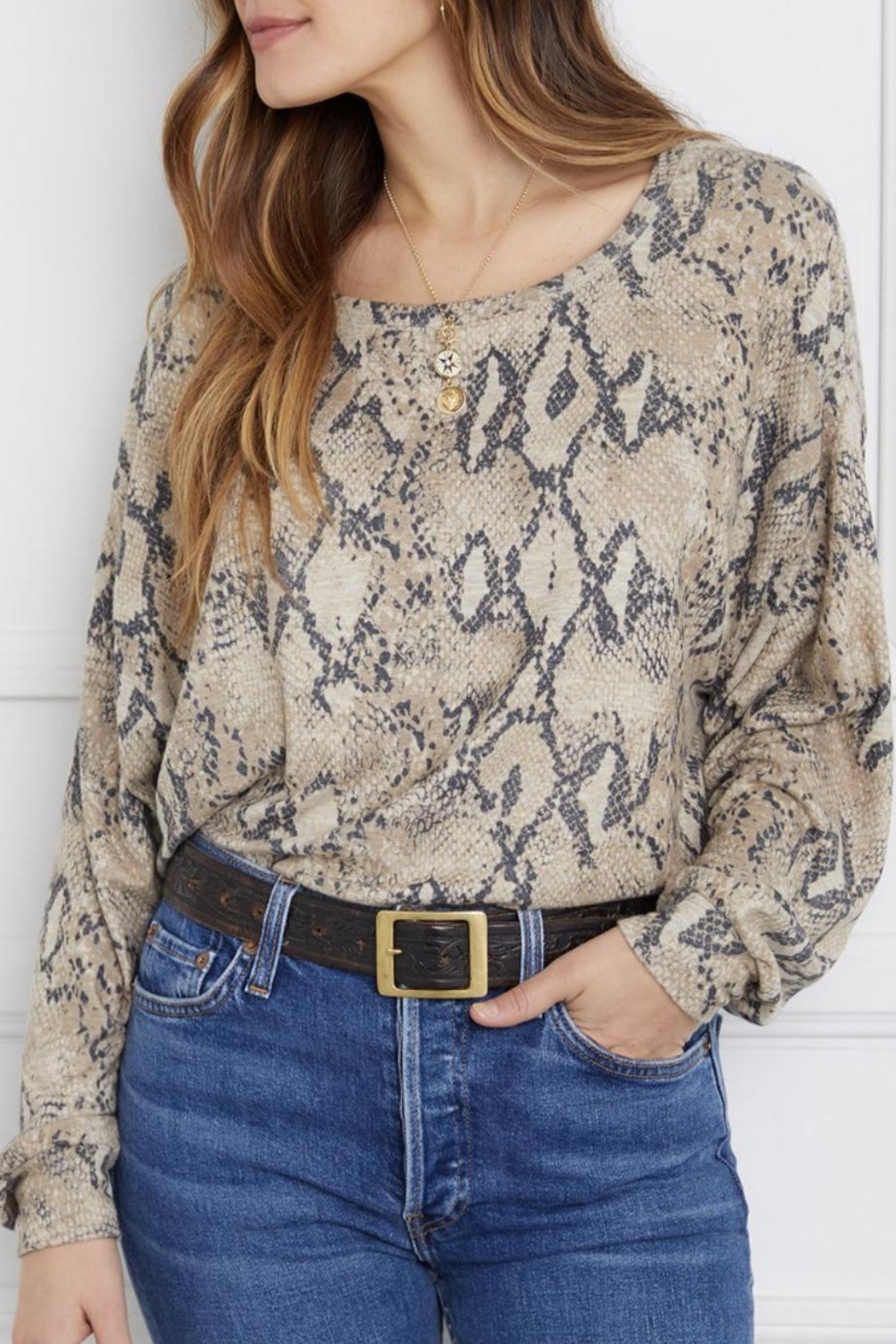 Fifteen Twenty Snakeskin Top - Main Image
