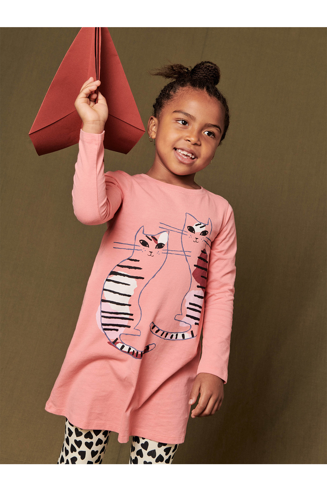 Tea Collection  Fika Cats T-Shirt Dress - Front Full Image