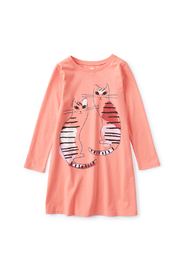 Tea Collection  Fika Cats T-Shirt Dress - Front cropped