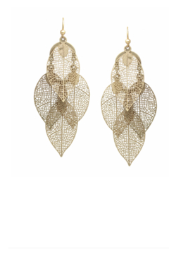 US Jewelry House Filigree Cutout Leaf Chandelier Drop Earrings - Product List Image