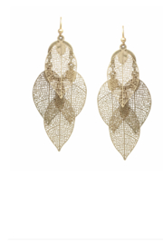 US Jewelry House Filigree Cutout Leaf Chandelier Drop Earrings - Product Mini Image
