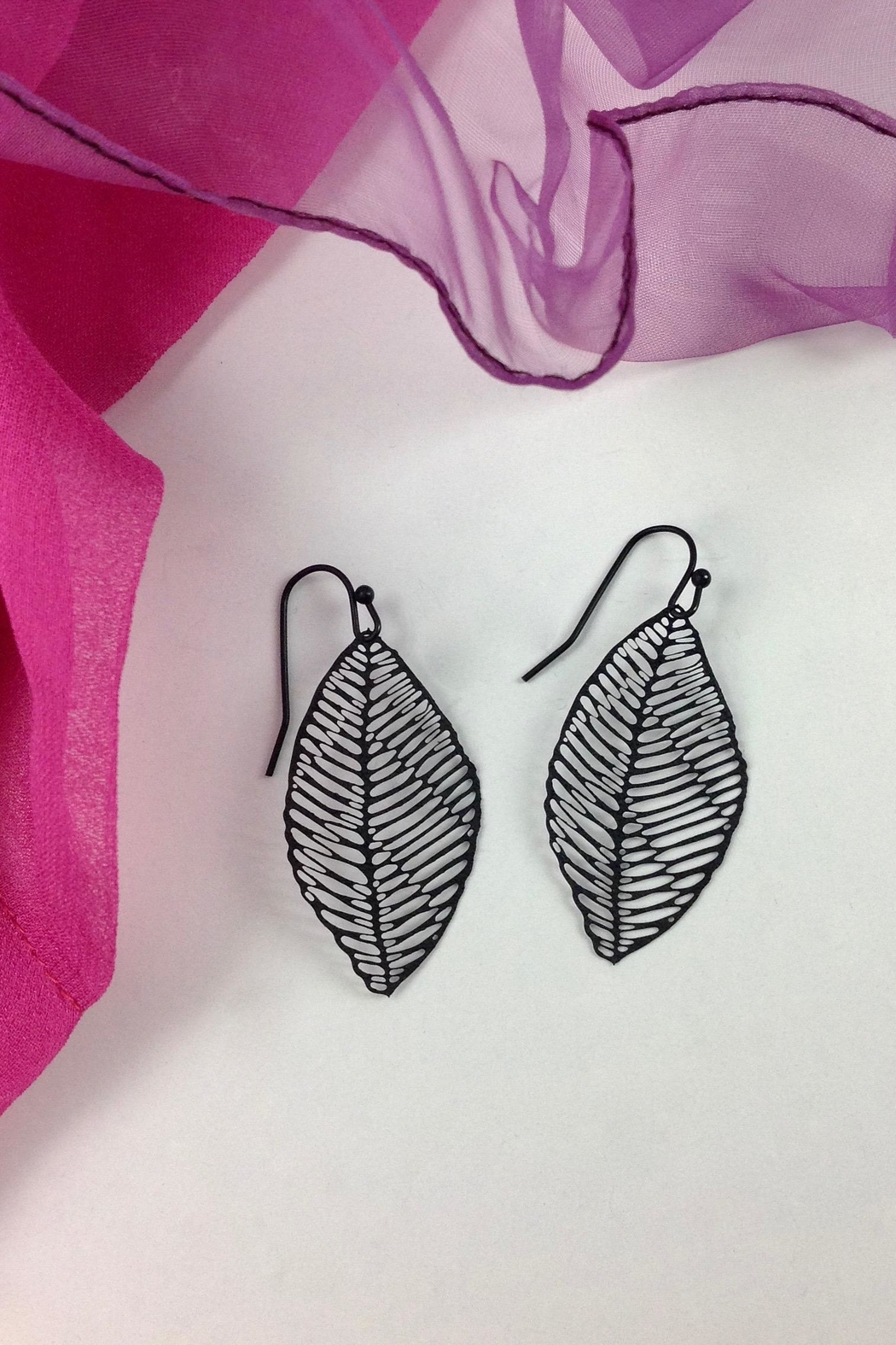 GHome2 Filigree Leaf Earrings - Front Full Image