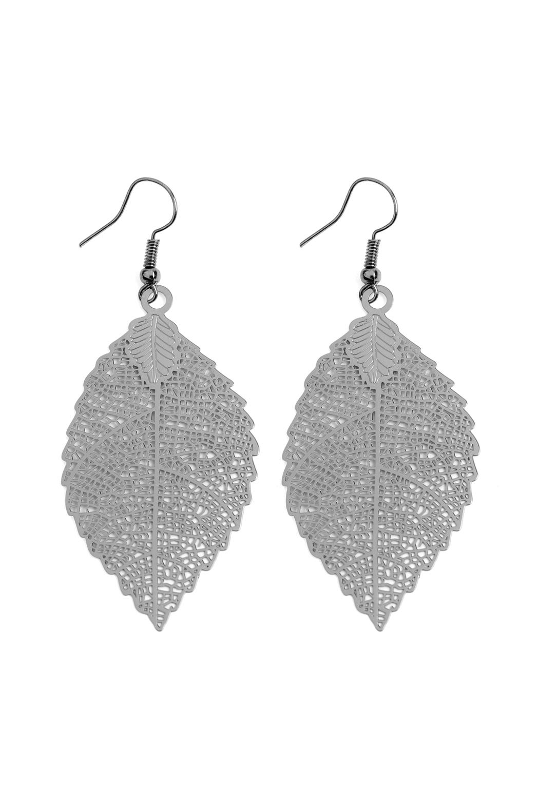 Riah Fashion Filigree-Leaf Hook-Earrings - Main Image