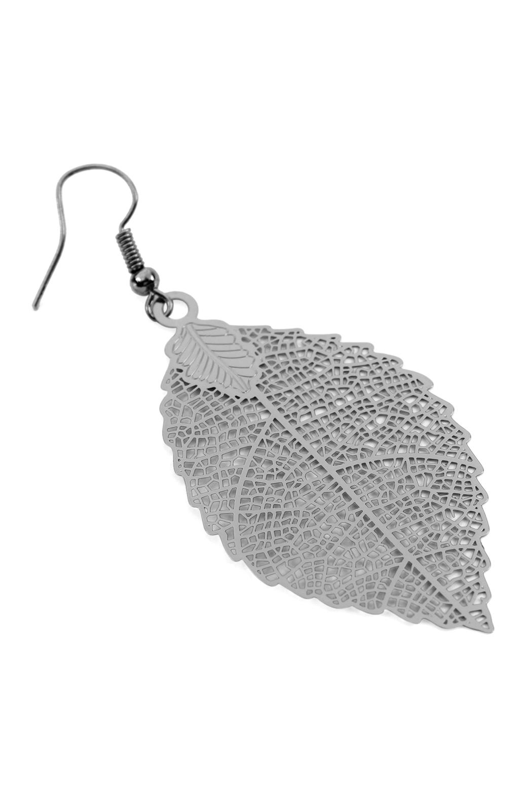 Riah Fashion Filigree-Leaf Hook-Earrings - Front Full Image