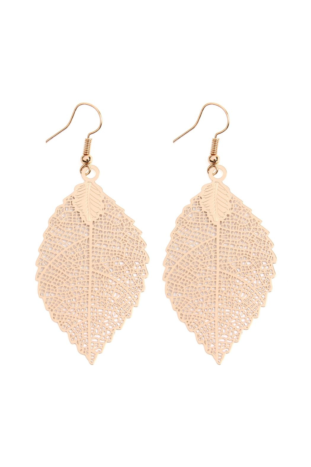 Riah Fashion Filigree-Leaf Hook-Earrings - Front Cropped Image