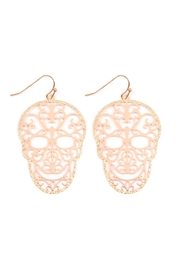 Riah Fashion Filigree-Sugar Skull Earrings - Product Mini Image