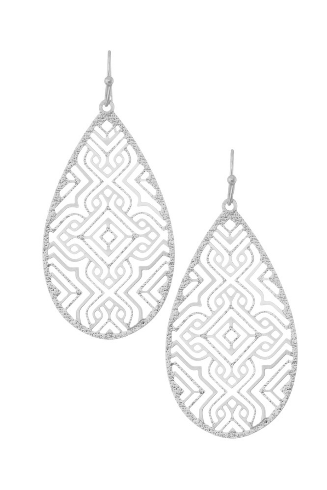 Girly Filigree Teardrop Earring - Front Cropped Image