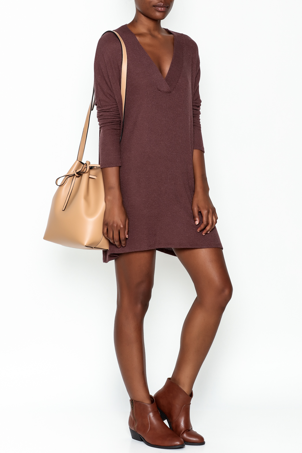 Final Touch Ribbed Long Sleeve Dress - Side Cropped Image