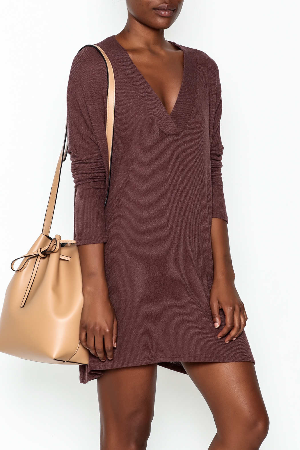 Final Touch Ribbed Long Sleeve Dress - Front Cropped Image