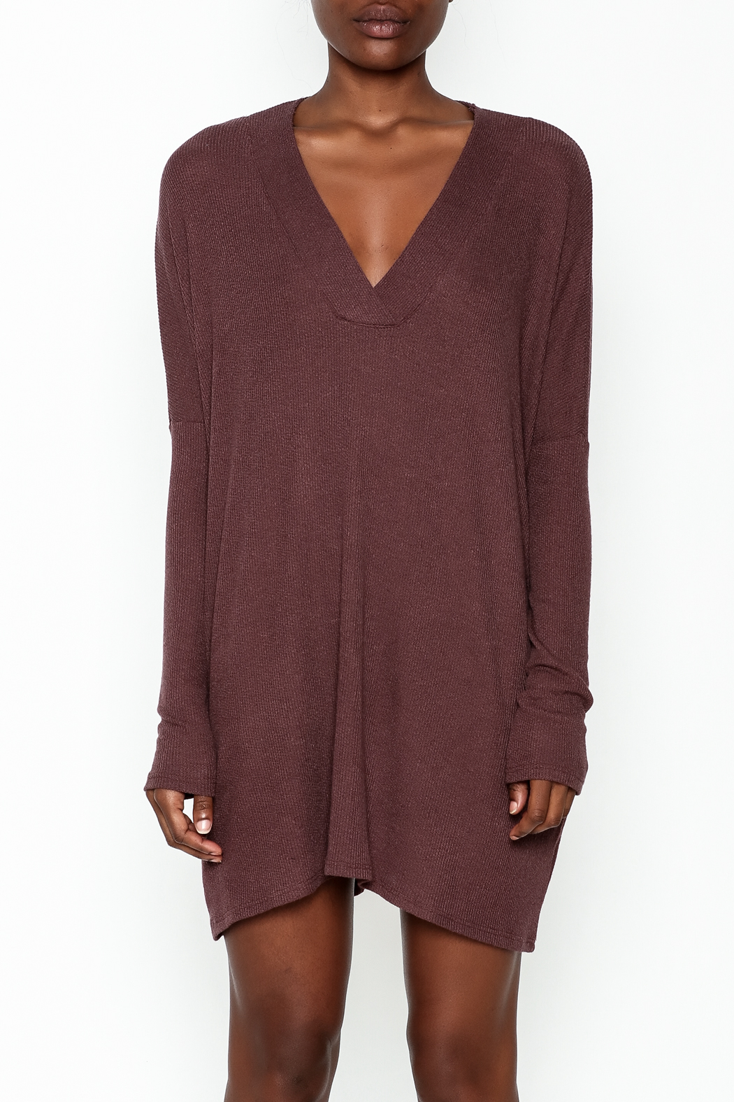 Final Touch Ribbed Long Sleeve Dress - Front Full Image