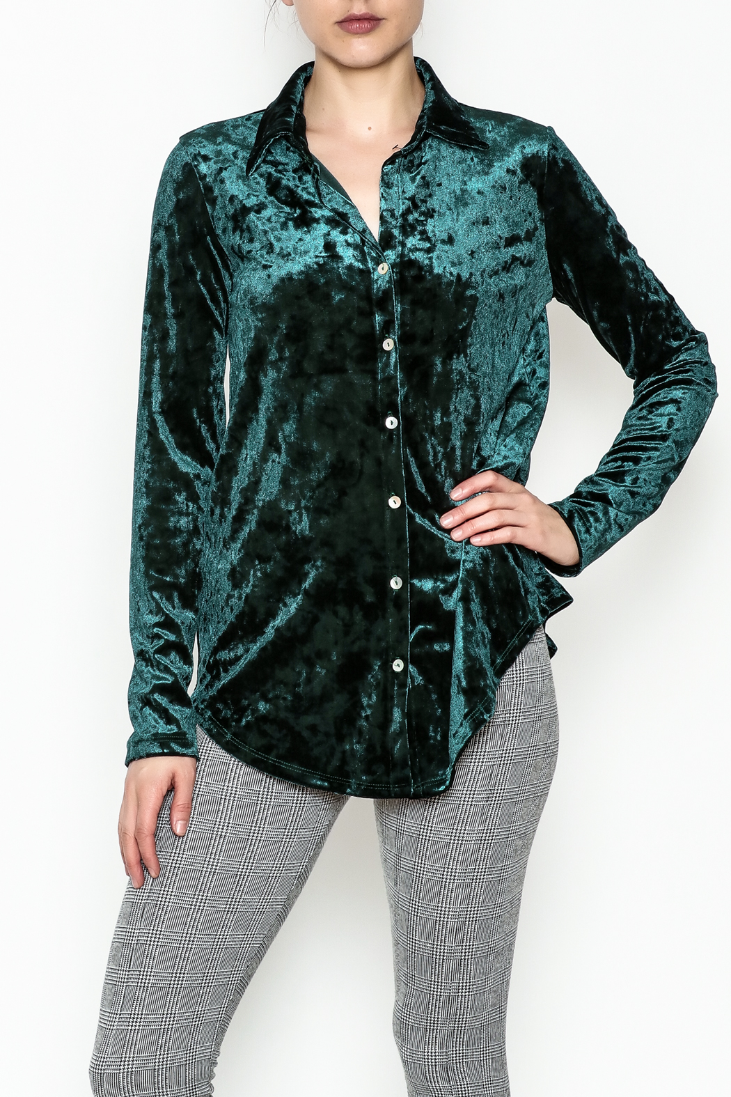 Final Touch Velvet Button Down - Front Cropped Image