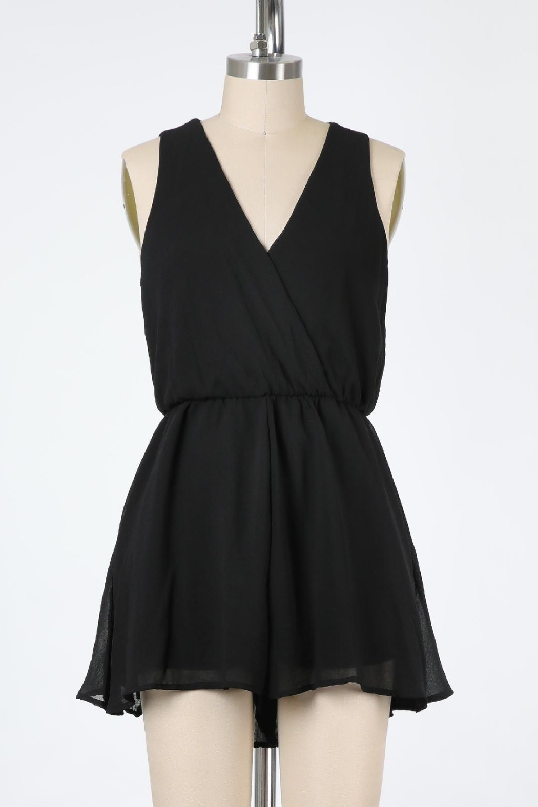 Final Touch Ballerina Dreams Lined Chiffon Romper In Midnight Black And Petal Pink - Main Image
