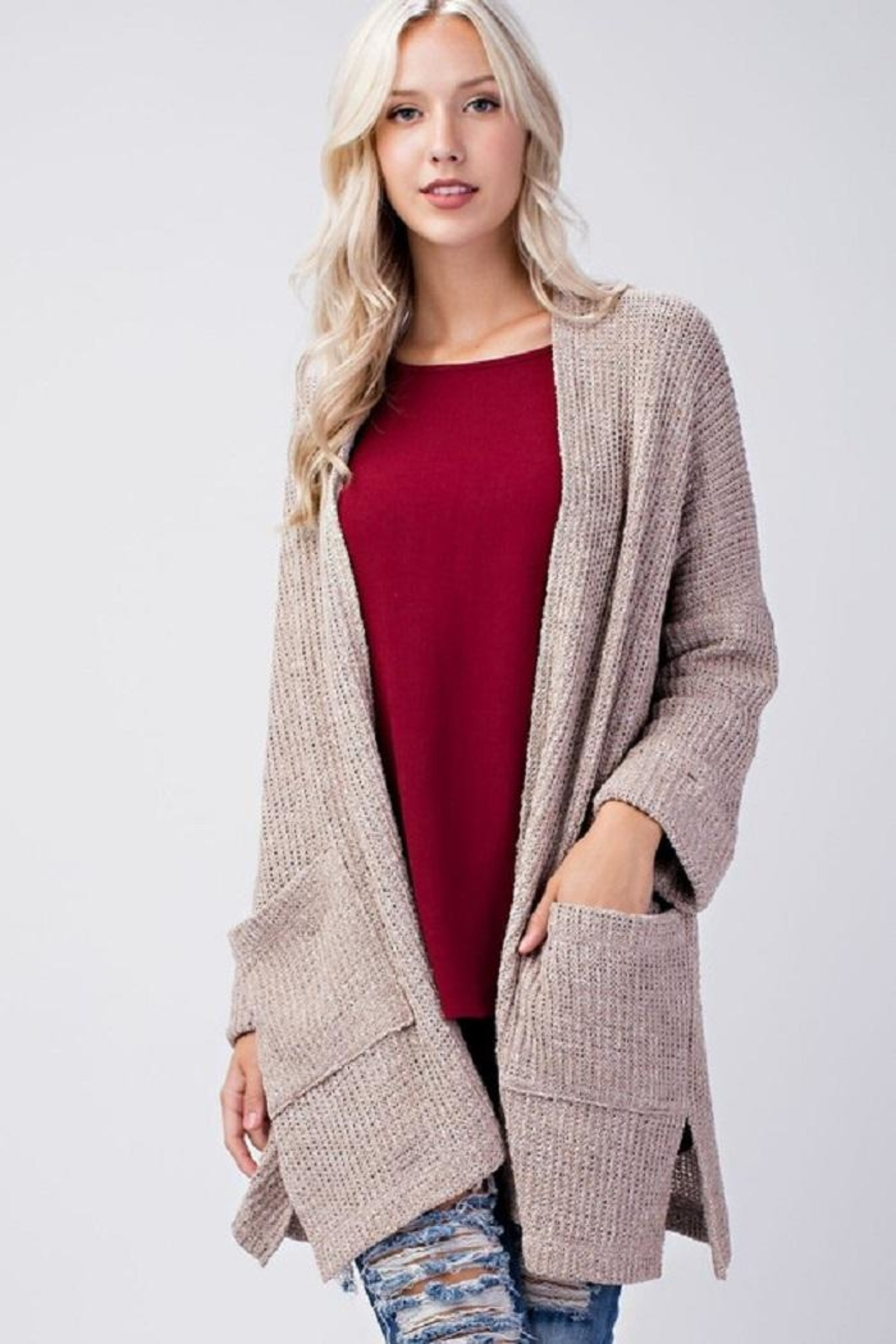 Final Touch Beige Knit Cardigan - Main Image