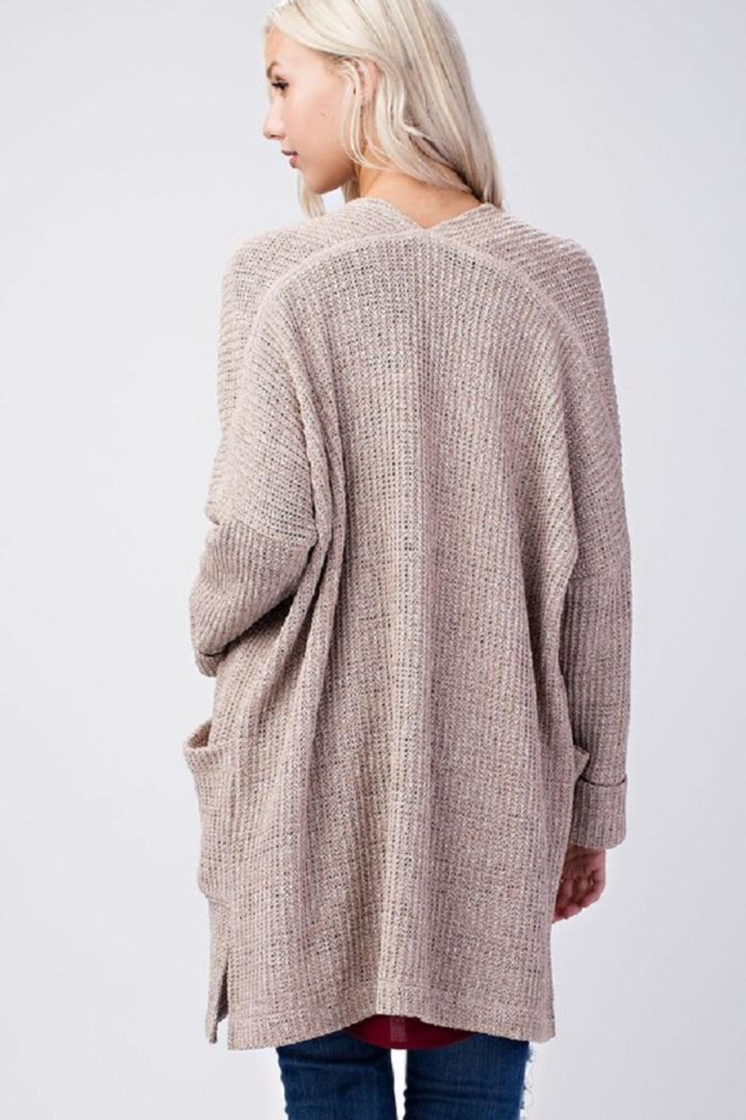 Final Touch Beige Knit Cardigan - Front Full Image