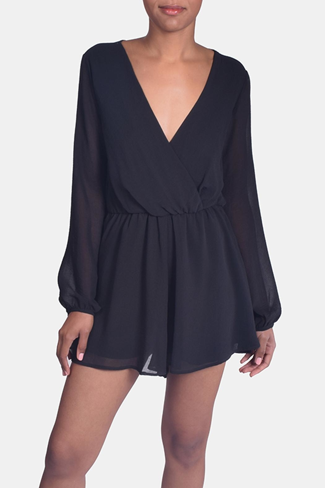 Final Touch Black Chiffon Romper - Front Full Image