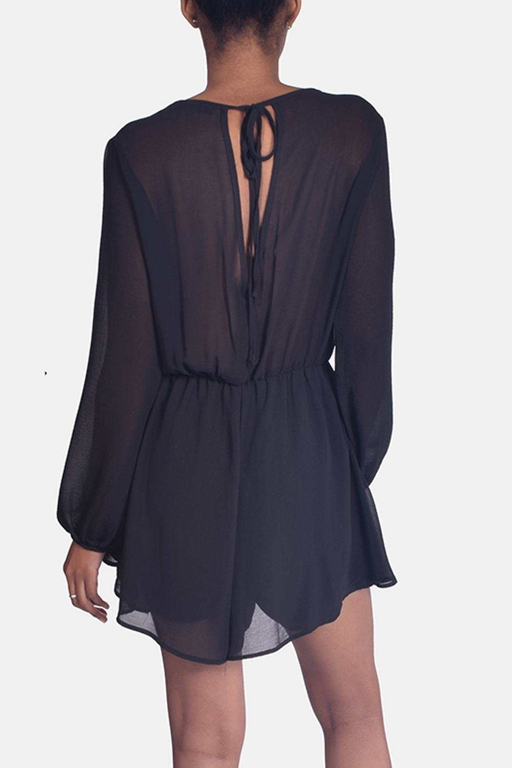 Final Touch Black Chiffon Romper - Back Cropped Image