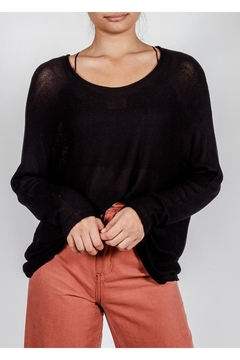 Final Touch Black Lightweight-Knit Sweater - Product List Image