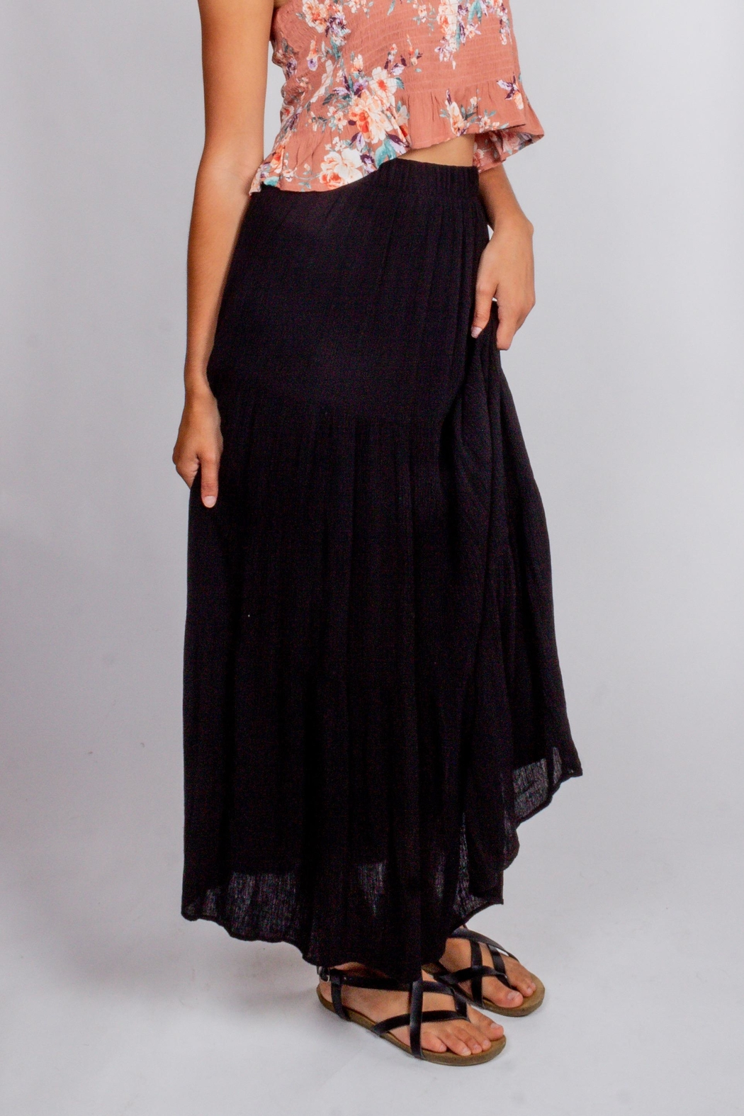 Final Touch Black-Night Maxi Skirt - Side Cropped Image