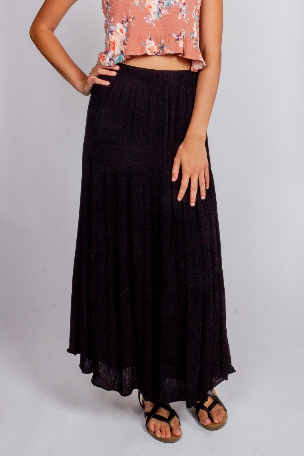 Final Touch Black-Night Maxi Skirt - Front Full Image
