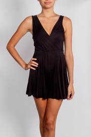 Final Touch Black Wrap Romper - Front cropped