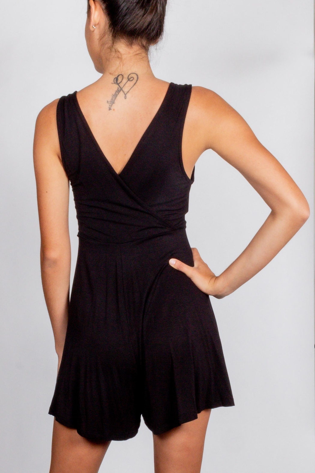 Final Touch Black Wrap Romper - Side Cropped Image