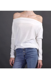 Final Touch Brushed Knit Off-Shoulder Top With Long Sleeves - Product Mini Image