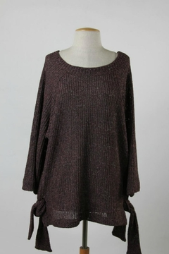 Shoptiques Product: Burgandy Side-Tie Sweater