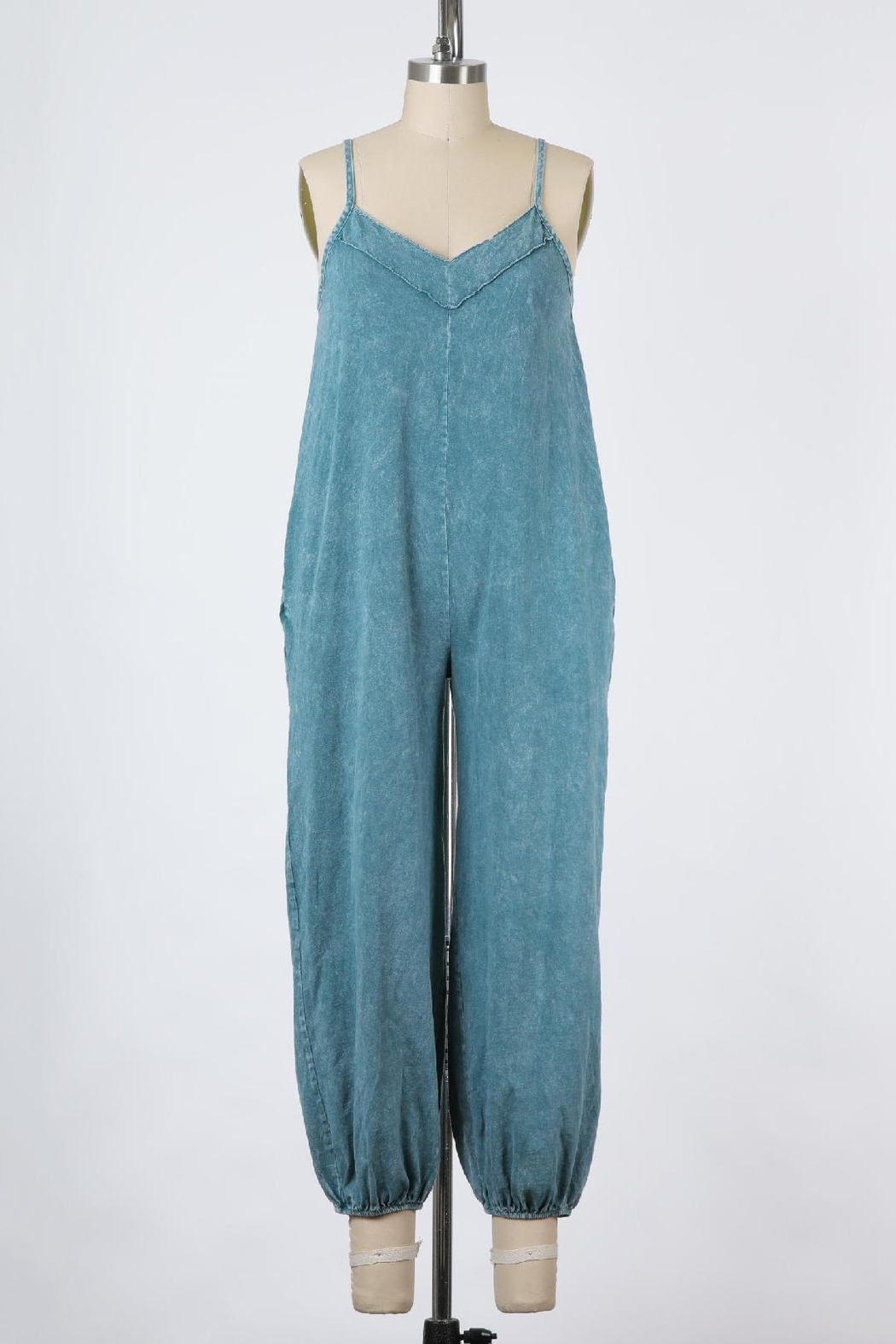 Final Touch East Side Mineral Washed Jumpsuit In Denim - Main Image