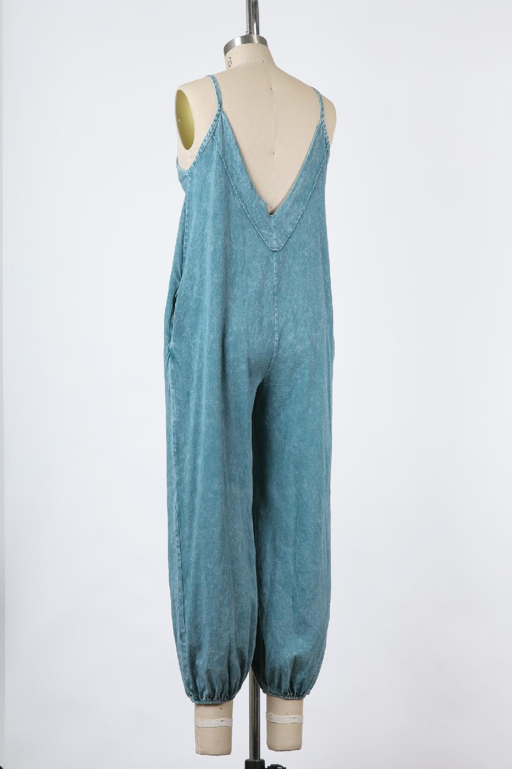 Final Touch East Side Mineral Washed Jumpsuit In Denim - Back Cropped Image