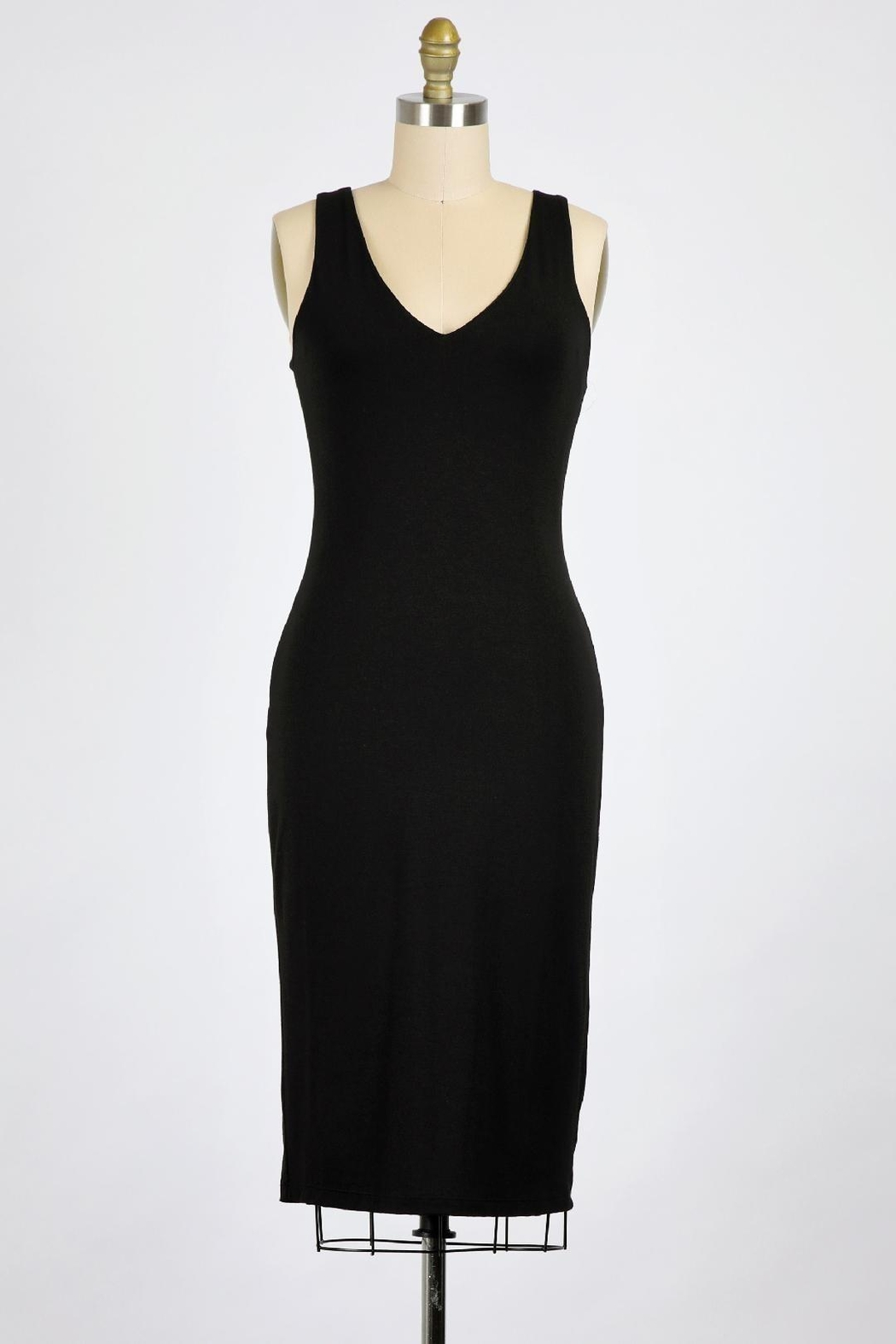 Final Touch Emerson Double Layer Bodycon Midi Dress In Modern Navy - Front Cropped Image