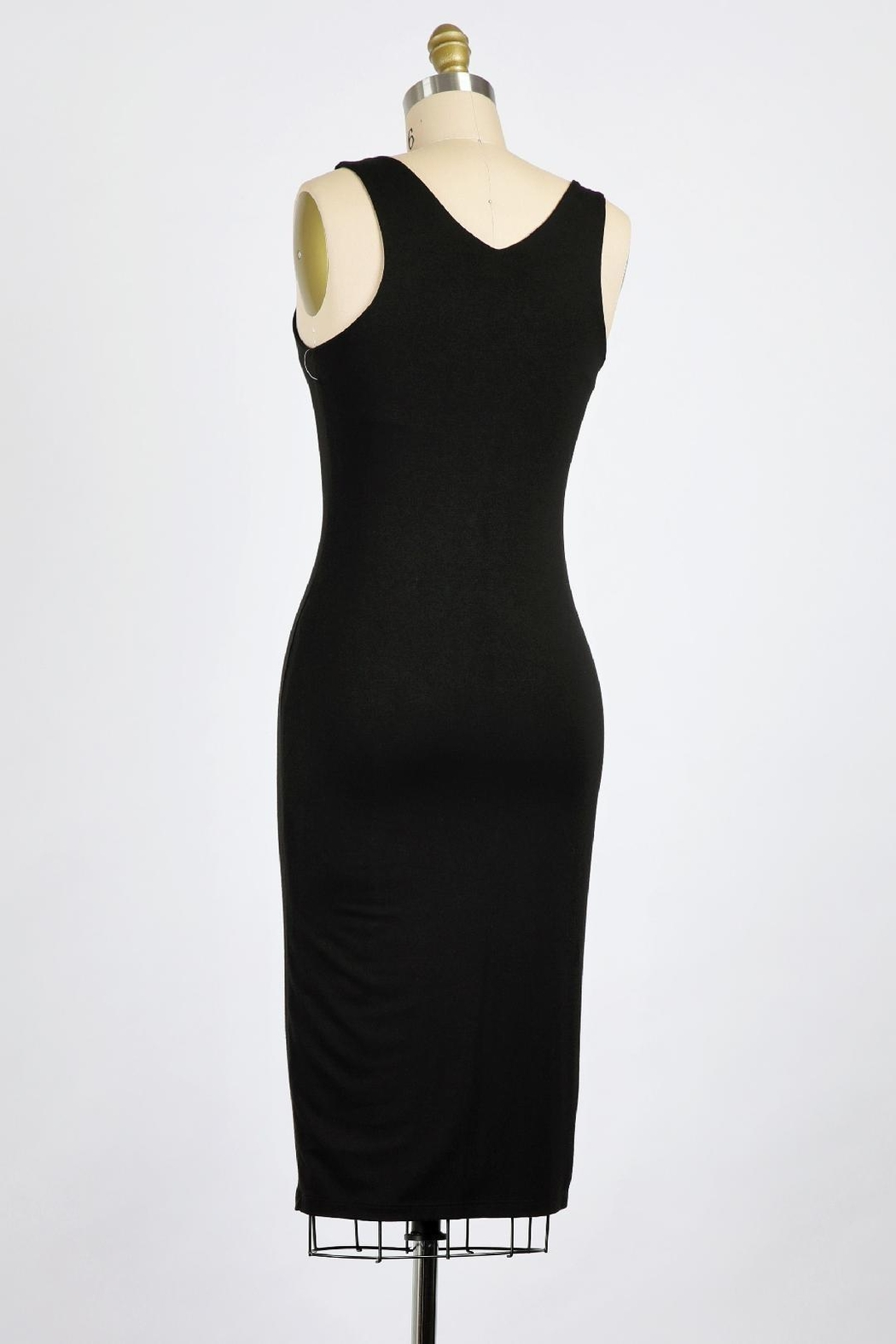Final Touch Emerson Double Layer Bodycon Midi Dress In Modern Navy - Front Full Image