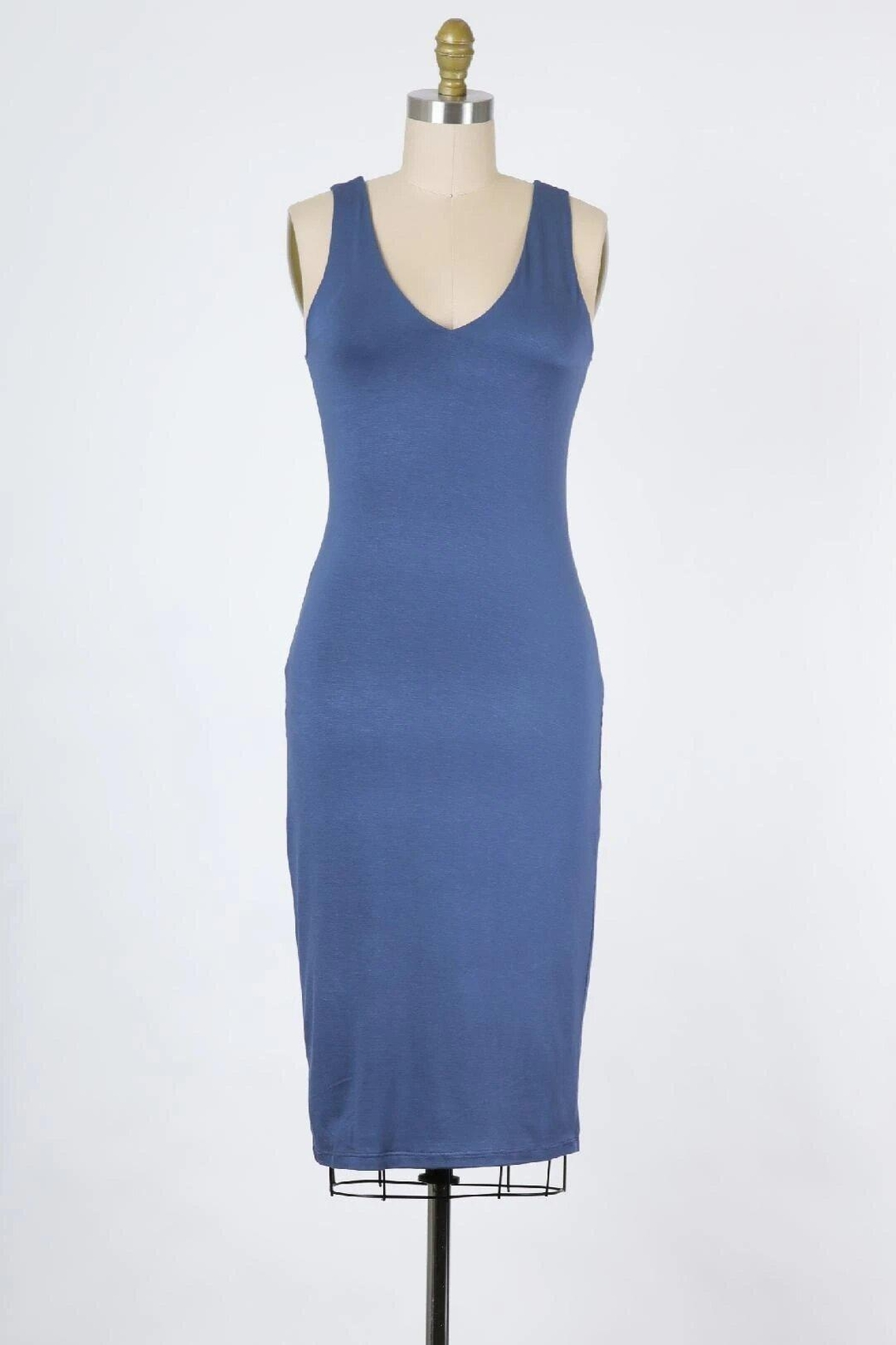 Final Touch Emerson Double Layer Bodycon Midi Dress In Modern Navy - Main Image
