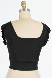 Final Touch Emma Ruffle Sleeve Top In Black - Front full body