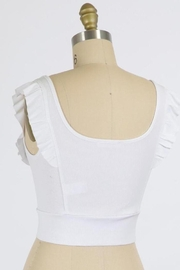 Final Touch Emma Ruffle Sleeve Top In White - Front full body