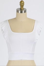 Final Touch Emma Ruffle Sleeve Top In White - Front cropped
