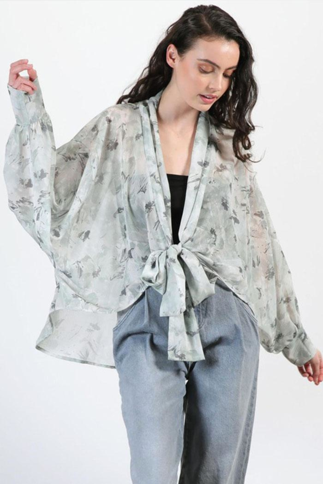 Final Touch Floral Chiffon Cardigan - Main Image