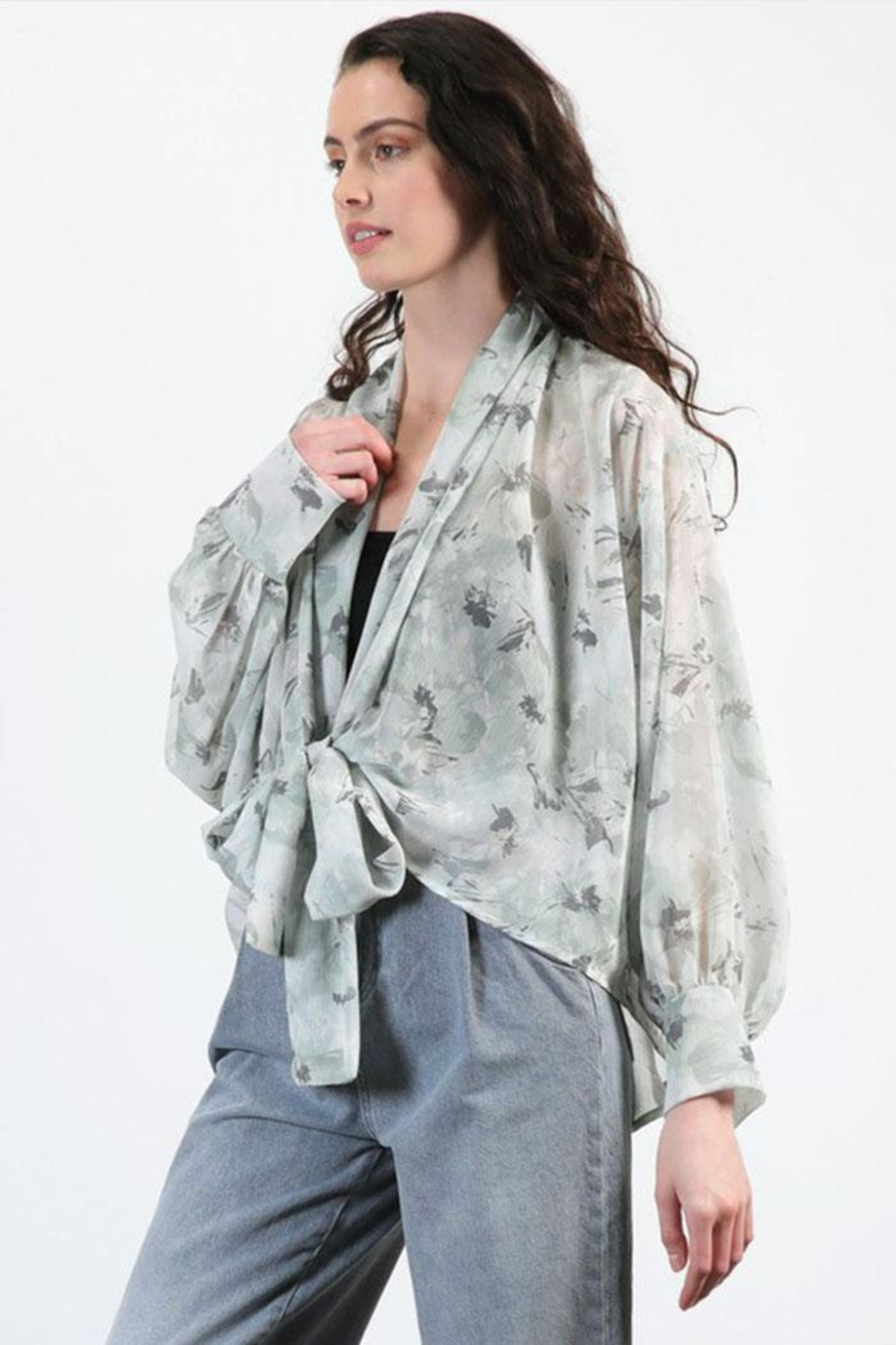 Final Touch Floral Chiffon Cardigan - Front Full Image