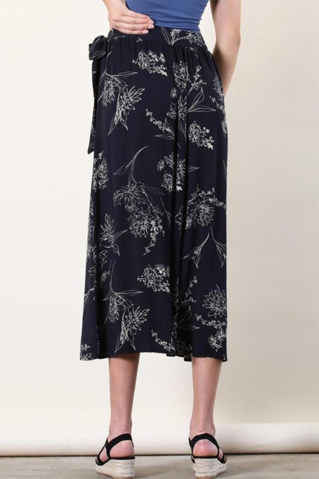 Final Touch Floral Wrap Skirt - Side Cropped Image